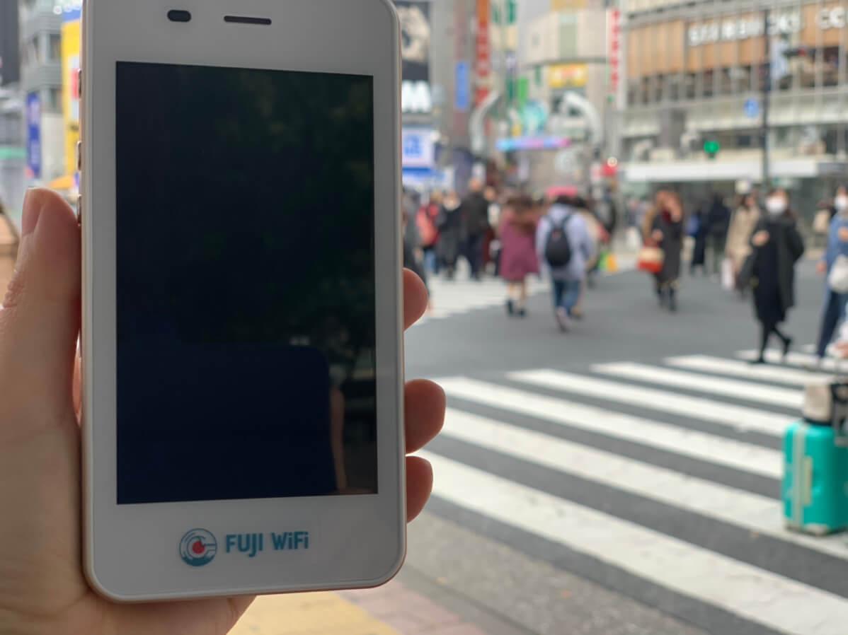FUJI Wifi 渋谷のスクランブル交差点で測定