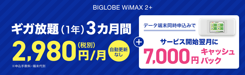 BIGLOBE WiMAX キャッシュバックキャンペーン
